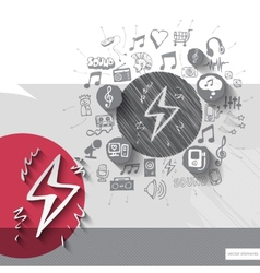 Hand drawn electricity icons with icons background vector image