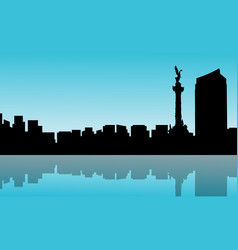Mexico city with reflection scenery silhouettes vector