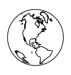 monochrome silhouette with world with view of vector image vector image