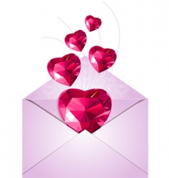 opened envelope with love hearts vector image vector image