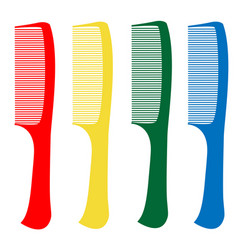 Red green yellow blue comb on a white background vector