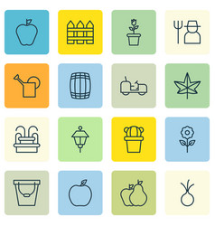 Set of 16 agriculture icons includes floret vector