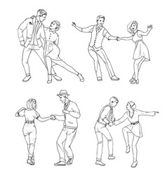 Set of a young couple dancing lindy hop hand vector