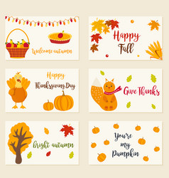 set of autumn cards with different characters vector image