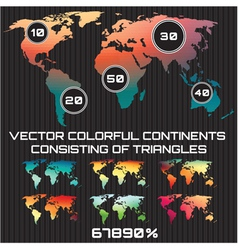 set of colored maps of the world consisting of tri vector image