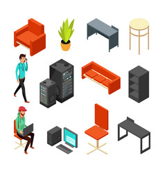 Set of office isometric icons computers server vector