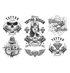 set of vintage tattoo emblems vector image vector image
