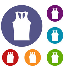 sleeveless shirt icons set vector image