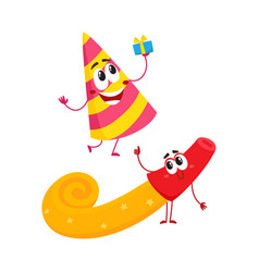 smiling birthday party characters - spriped hat vector image vector image