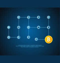 Style block chain world with icons vector