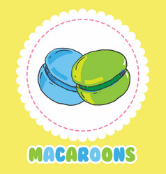 Sweet green and blue french macaroon cake biscuit vector