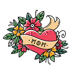 Tattoo heart with ribbon flowers and word mom vector