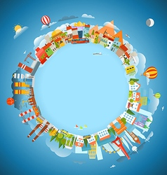 The Earth and different locations Travel concept vector image vector image