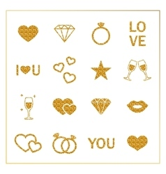 Valentine s day golden glitter design elements set vector image vector image