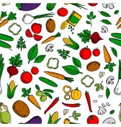 Vegetable salad ingredients seamless pattern vector image