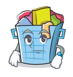 Waiting laundry basket character cartoon vector