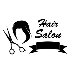 wig and scissors on barber icon vector image