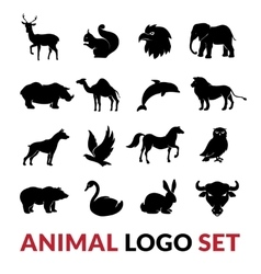 Wild animals black logo icons set vector