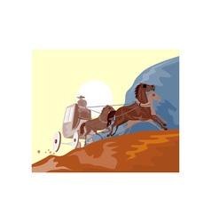 Wild west stagecoach retro vector