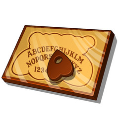 Wooden ouija board with english letters vector