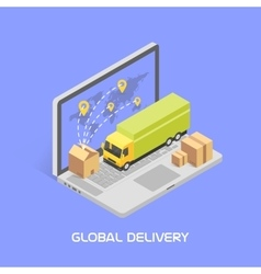 Worldwide delivery concept Isometric style vector image