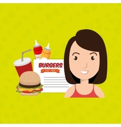 Child cartoon girl fast food vector