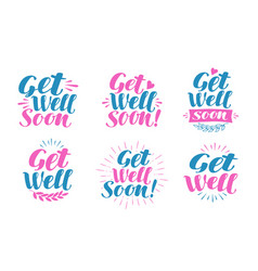 Get well soon greeting card visiting sick vector