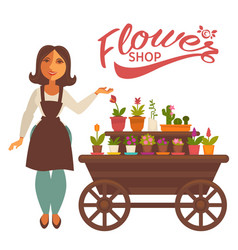 cheerful woman near wagon with flowers vector image