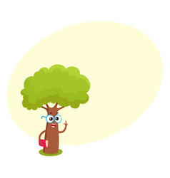 Funny smart comic tree character in round glasses vector