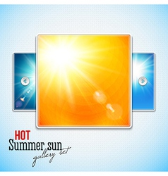 Set of hot shining sun with lens flare web slider vector