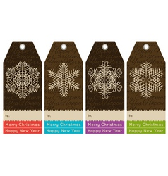 vintage christmas labels with sale offer vector image
