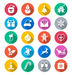 Christmas flat color icons vector image