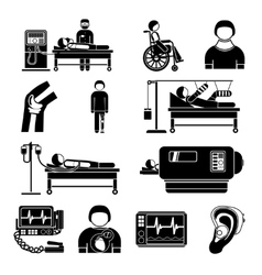Life support medical equipment icons vector image