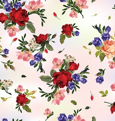 Abstract seamless floral pattern with red roses vector