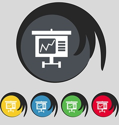 Graph icon sign symbol on five colored buttons vector