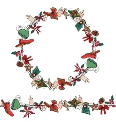 Round christmas wreath with decoration vector
