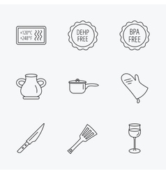 Saucepan potholder and wineglass icons vector