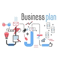 Business plan concept in flat line design vector