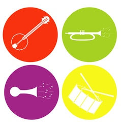 monochrome icon set with drum guitar tube vector image