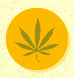 Round icon green cannabis leaf symbol vector