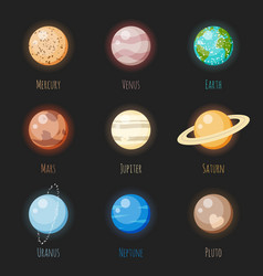 Solar system planets icon set vector