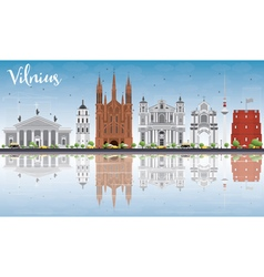 Vilnius skyline with gray landmarks blue sky vector