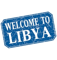 Welcome to libya blue square grunge stamp vector