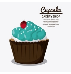 Decorated cupcake sweet icon graphic vector