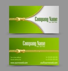 Zipper theme business card vector