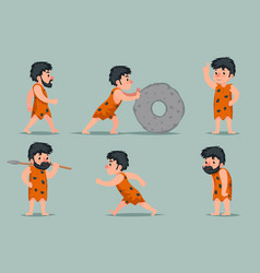ancient cave man character different positions and vector image vector image