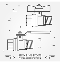 Ball valve icons thin line for web and mobile mode vector image