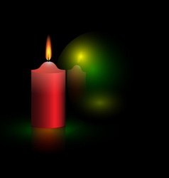 candle and green ball vector image