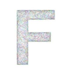 Colorful sketch font design - letter F vector image vector image