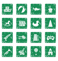 Different kids toys icons set grunge vector